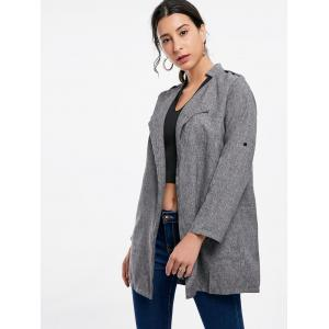Oversized Open Front Tunic Coat - GRAY S