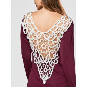 Lace Crochet Side Slit Tunic T-shirt - WINE RED 2XL