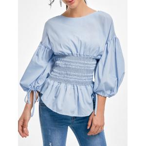 Lantern Sleeve Zip Waisted Blouse - Light Blue - L