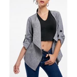 Open Front Draped Blazer - Gray - Xl