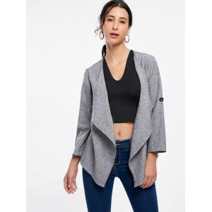 Open Front Draped Blazer - GRAY 2XL