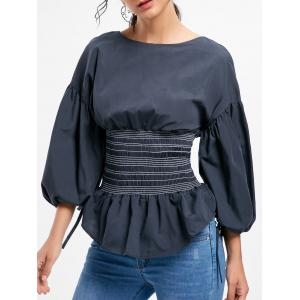 Lantern Sleeve Zip Waisted Blouse - Black - S