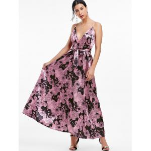 Maxi Floral Backless Plunge Cami Dress - RUSSET-RED S