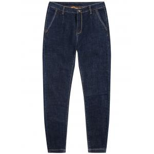 Zip Fly Dark Wash Tapered Jeans - Deep Blue - 36