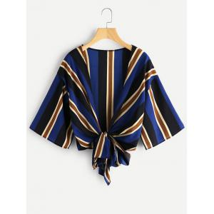 Knot Tied Striped Chiffon Top