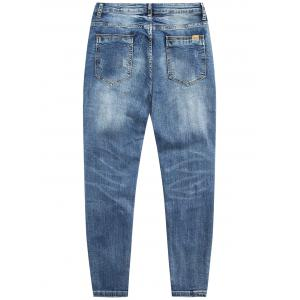 Zip Fly Tapered Fit Ripped Jeans - Bleu clair 31