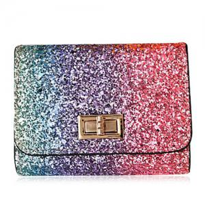 Sequins Multicolor Metal Small Wallet - Rose Red