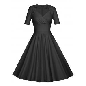 Vintage Ruched Pinup Skater Party Dress