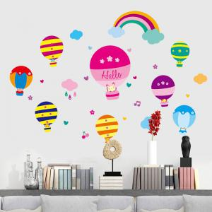 Cartoon Hot Air Balloon Wall Art Stickers For Kids Room - COLORMIX 40*60CM