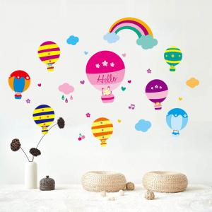 Cartoon Hot Air Balloon Wall Art Stickers For Kids Room