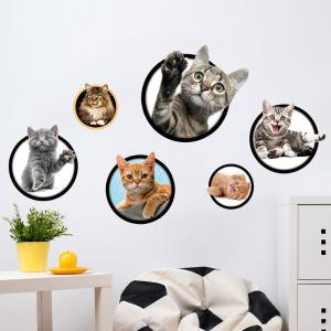 Cats Removable 3D Wall Art Sticker For Bedrooms - Colormix - 40*60cm