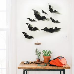 ... Glow In The Dark 3D Bats Halloween Wall Art Stickers   Part 86