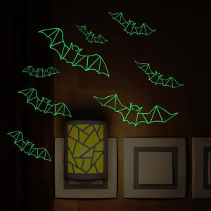 Glow In The Dark 3D Bats Halloween Wall Art Stickers