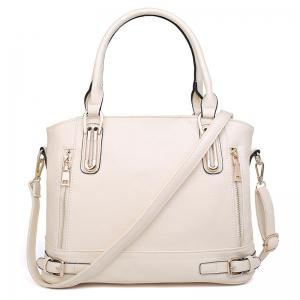 Zippers Belt Buckles Tote Bag - Off-white - S