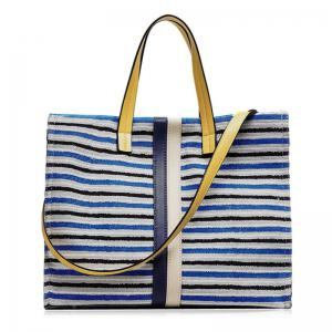 Striped Canvas Tote Bag - Blue - 39