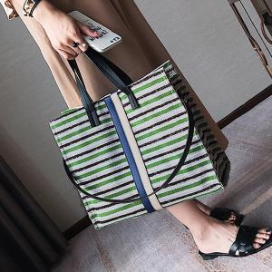 Striped Canvas Tote Bag - GREEN