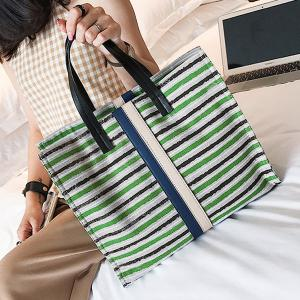Striped Canvas Tote Bag -