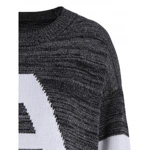 Pullover Knit Plus Size Graphic Sweater - DEEP GRAY 3XL