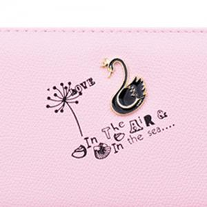 Faux Leather Letter Print Clutch Wallet - LIGHT PINK
