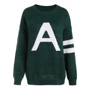 Pullover Knit Plus Size Graphic Sweater - Deep Green - 5xl