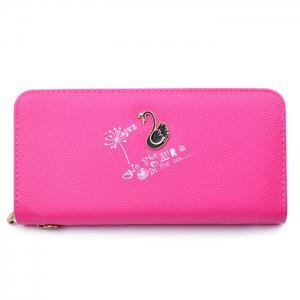 Faux Leather Letter Print Clutch Wallet - Rose Red - 38