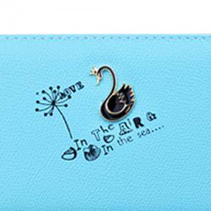 Faux Leather Letter Print Clutch Wallet - LAKE BLUE