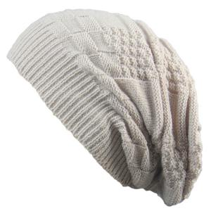 Draped Striped Checked Knitting Hat