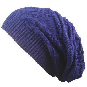 Draped Striped Checked Knitting Hat - Cadetblue