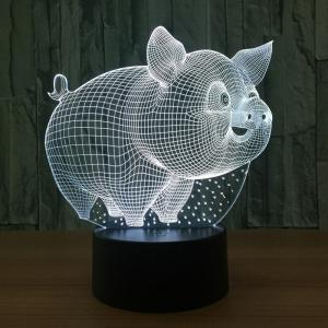 7 couleurs Change Cartoon 3D Pig Shape LED Night Light - Transparent