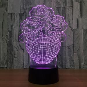 3D Visual Rose Vase Shape Colors Change Touch Night Light - TRANSPARENT
