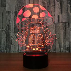 7 Colors Change 3D Mushroom House Design Touch Night Light - Transparent - 2xl