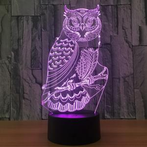 Owl Shape 7 Colors Changing 3D Night Light - Transparent