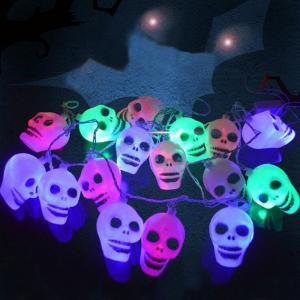 16 Pcs LED Skull Halloween Party Hanging String Lights - Colorful - 9.5*7*5cm