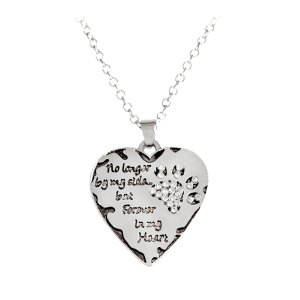 Heart Engraved Forever Claw Footprint Necklace - White