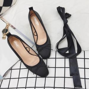 Bow Block Heel Satin Pumps - BLACK 37