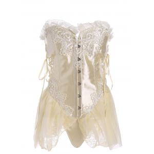 Ruffles Lace-up Vintage Corset Top