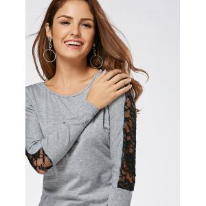 Lace Insert Long Sleeve Casual T-shirt - GRAY S