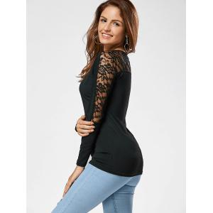 Lace Insert Long Sleeve Casual T-shirt - BLACK XL