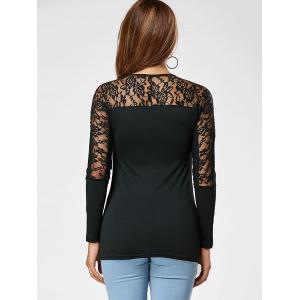 Lace Insert Long Sleeve Casual T-shirt -