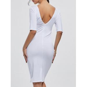 Open Back Party Pencil Dress - White - 2xl
