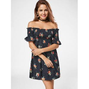 Smocked Floral Off The Shoulder Dress - BLACK M