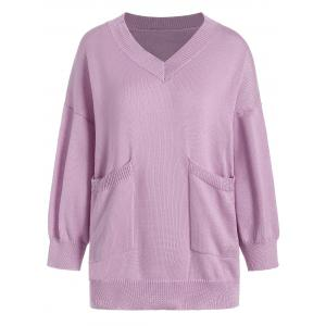 V Neck Pocket Plus Size Knit Sweater