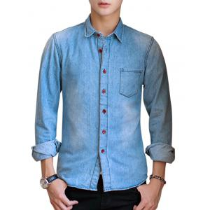 Long Sleeve Chest Pocket Jean Shirt