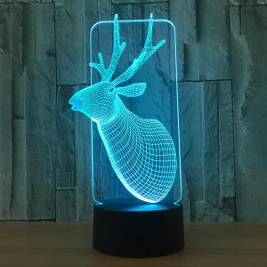 Colors Change Christmas Elk Shape 3D LED Night Light - TRANSPARENT