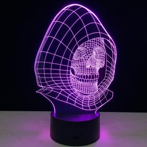 7 Colors Change Wizard Skull Shape 3D LED Night Light - Transparent - 9.5*7*5cm