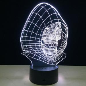 7 couleurs Change Wizard Skull Shape 3D LED Night Light - Transparent