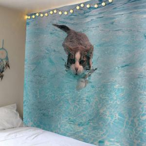 Wall Decor Swimming Cat Bedroom Tapestry - Spa - W79 Inch * L59 Inch