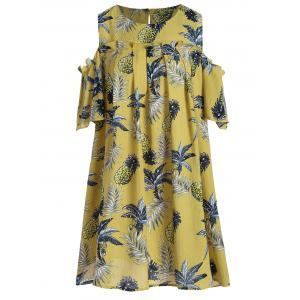 Plus Size Cold Shoulder Pineapple Print Tunic Top