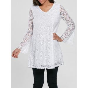 Bell Sleeve Lace Tunic Top - White - 2xl