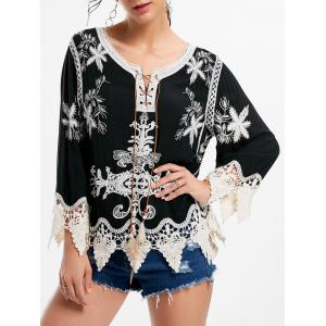 Embroidery Crochet Insert Beach Top - Black - One Size